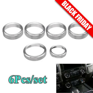 6pcs Air Conditioner Audio Switch Knob Ring Trim For Ford F150 2016 2018 Silver