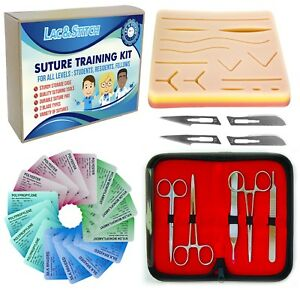 Suture Practice Training Kit 16xsutures 5xtools 4xblades Wound Pad Case