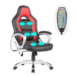 Office Massage Chair Computer Race Car Style Remote Gaming Adjustable New Back