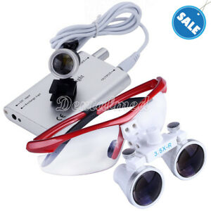 Dental Surgical Medical 3 5x Magnifier Binocular Loupes With Led Light Lamp
