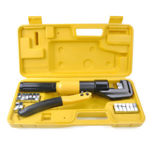 10 Ton Hydraulic Crimper Crimping Tool 9 Dies Wire Battery Cable Lug Terminal
