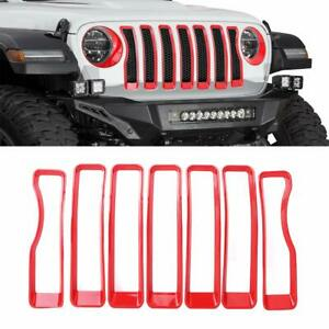 Front Grille Trim Inserts Grill Cover Protection Parts For 2018 Jeep Wrangler Jl