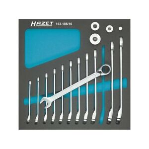 Hazet 163 186 16 Ratcheting Combination Wrench Set 606 Series 16pcs