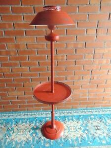 Vtg Rare 50 Red Toleware Floor Lamp Table Pierced Painted Works Mid Century