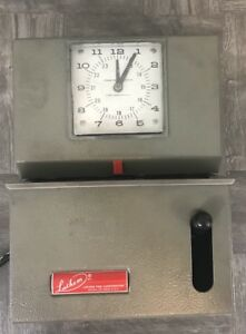 Vintage Lathem Time Clock Model 2121 Manual Punch Tested Working No Key