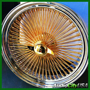 17x8 Std 100 Spokes Wire Wheel Std All Gold Center Only Lip Chrome