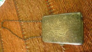 Vintage Sterling Silver Coin Purse Or Makeup Purse Ornately Engraved E M G