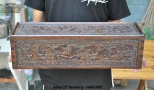 Old Chinese Huanghuali Wood Carved Wealth Bat Storage Collect Box Treasure Chest