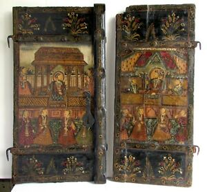 Antique 19th C Islamic Persian Qajar Hand Painted Lacquered Panels