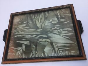 Large Vintage Art Deco Silvering Crystaling Glass Serving Tray 17 5 X 14