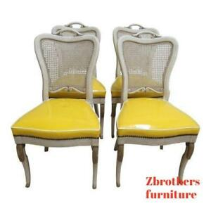 4 Vintage Custom French Regency Cane Paint Decorated Dining Room Side Chairs