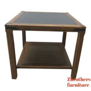 Vintage Mid Century Brandt Ranch Oak Rustic Cabin Lamp End Table Stand Shelf A