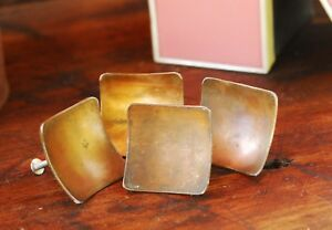 Lot Of 4 Vintage Mid Century Rusted Copper Knobs 2 Square