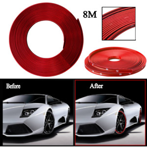 8m New Red Tire Guard Sticker Rubber Strip Car Wheel Hub Rim Edge Protector Ring
