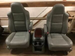 05 07 Ford F250 f350 Lariat Super Duty Gray Leather Captains Seats W console
