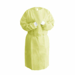 200 Yellow Hospital Medical Dental Isolation Gown W Knit Cuff Sms Material