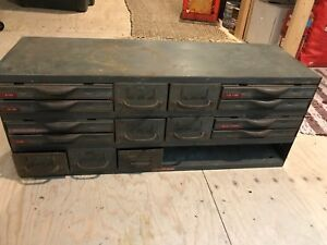 Vintage Equipto 15 Drawer Unit Metal Industrial Parts Drawers 34x14x11 Cabinet