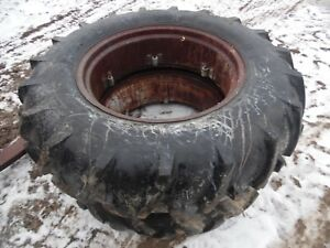 Oliver Super 55 Gas Farm Tractor 13 6 X 28 Rear Tires Rims no Fluid In Them