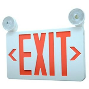 2 X Led Exit Emergency Combo Sign Red Backup Battery Included