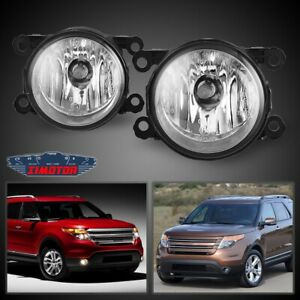 Fit Ford Explorer 11 15 Clear Lens Pair Bumper Fog Light Lamp Oe Replacement Dot