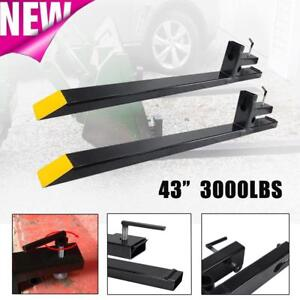 3000lbs Capacity 43 Clamp On Pallet Forks For Loader Bucket Tractor Chain