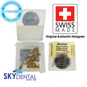 Original All Sizes Gold Plated Nordin Dental Screw Post Refill Of Kit 12 Posts