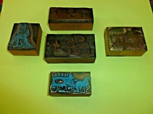 Old Block Metal Print Printing Copper Wood Lot 5 Carriage Factory Old Man Camels