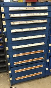 Vidmar Industrial Drawer Cabinet Blue 10 Drawers