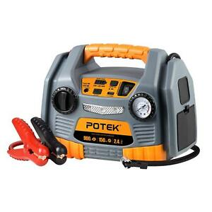 Potek Jump Starter Source 150 Psi Tire Inflator air Compressor 900 Peak Amp