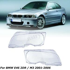 Left Righ Clear Headlight Lens Cover Replacement For Bmw E46 99 03 2dr 01 06