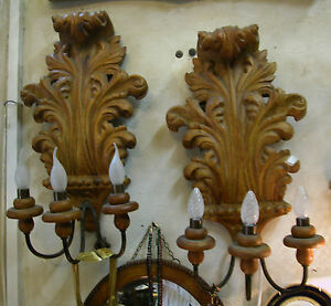 Beautifully Hand Carved Pair Of 3 Dimensions Wallnut Wooden Wall Lamps