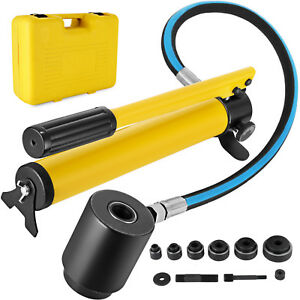 6 Die 10 Ton Hydraulic Knockout Punch 1 2 To 2 Conduit Driver Kit Set
