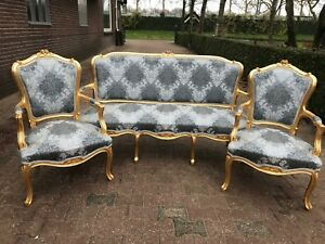 Unique Sofa Settee Couch Set With 2 Chairs In Louis Xvi Style