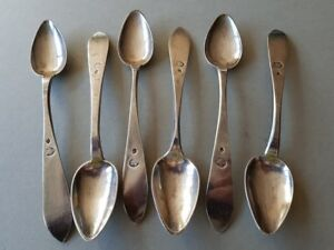 Set 6 Antique Original Ottoman Sterling Silver Spoons With Sultan Tughra