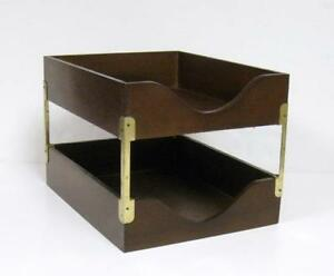 Vintage Wood Brass 2 Tray Desk Organizer In out Box Finger Joints Double Letter