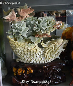 22 Chinese Natural Jade Bird Peony Flower Blossom Loong Dragon Boat Ship Statue