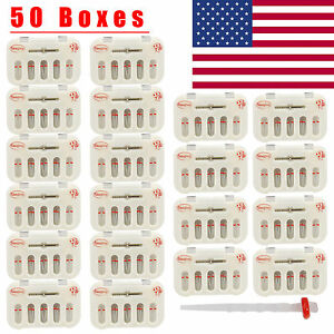 50 Boxes High intensity Dental Fiber Post Screw Thread Quartz Resin 50 drill Red