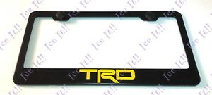 Yellow Trd Off Road Tacoma Stainless Steel Black License Plate Frame W Bolt Cap