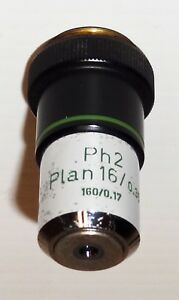 Zeiss Microscope 16x Plan Achromat Phase Contrast Ph2 Objective 160mm Tl