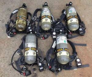 Lot Of 5 Msa Firefighter Fire Fireman Scba Air Pack W Stealth Cylinder