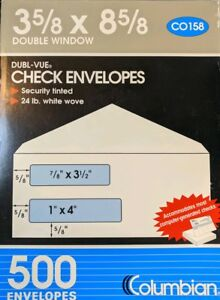 Box Of 500 Columbian 8 Security Check Envelopes Gummed Flap 2 Window Co158
