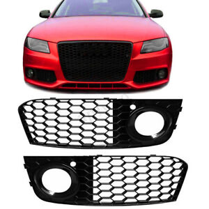 2x Front Bumper Fog Light Mesh Grill Grille Rs4 Style For Audi A4 B8 2009 2012