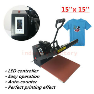 15 x15 Heat Press Machine Sublimation Transfer T shirt Pad Printing Lcd Timer