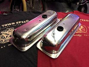 Polished Smooth Aluminum Chevy 4 3 V6 Valve Covers Hot Rod Tall Roller Rockers