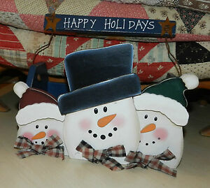 Adorable Painted Wood Snowman Box