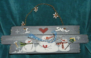 Cute Hand Painted Wood I Love Snow Snowman Sign Christmas