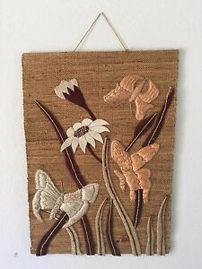 Don Freedman Interlude Wall Art Hanging Textile Jute Mid Century 1983 36 X 25