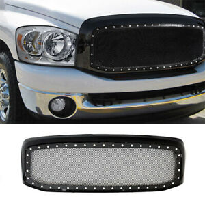 06 08 Dodge Ram 1500 2500 3500 Rivet Style Ss Wire Mesh Grille Shell Gloss Black