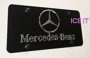 Mercedes Benz Front Black Stainless Steel Heavy Duty License Vanity Plate Frame
