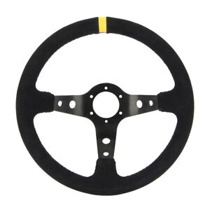 35cm 13 8 Universal Suede Deep Dish Racing Sport Steering Wheel For Car Black